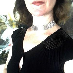 Jewelry - SILVER CHOKER wide slinky chain necklace metal